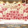 ซุ้มดอกไม้กระดาษเต็มฉาก เช่าฉากถ่ายภาพงานแต่งงานโทนสีชมพู ยาว4เมตร (backdrop ฉากงานแต่ง)