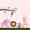 """สติ๊กเกอร์ติดผนัง สำหรับห้องเด็ก """"Cute Safari ซาฟารีพาสเทล"""" ความสูง 90 cm ความยาว 130 cm"""