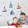 """สติ๊กเกอร์ติดผนังตกแต่งบ้าน """"เรือใบ Colorful Sailing kid"""" ความสูง 175 cm ยาว 70 cm"""