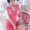 Jingjing ชุดราตรี ลูกไม้ สีชมพูบานเย็น ประดับเพชร ชุดเข้ารูป