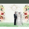 backdropงานแต่งงาน - inkjet backdrop wedding สีน้ำลายดอกไม้หวานแหวว