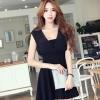 เดรสเกาหลี แขนใบบัว สีดำ