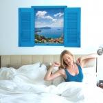 """ลดล้างสต็อก สินค้าลดราคา 50% """"บานหน้าต่างสีฟ้าและวิวเมืองบนเกาะ"""" ความสูง 60 cm ยาว 90 cm"""