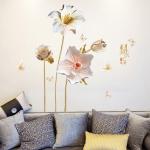 """สติ๊กเกอร์ติดผนังตกแต่งบ้าน (AU) """"White Gold Flower"""" ความสูง 132 cm ยาว 130 cm"""