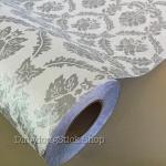 """วอลเปเปอร์ ลายไทย """"Antique Style หลุยส์พื้นขาวมุก ลายเส้นสีเงิน"""" หน้ากว้าง 122 cm เมตรละ 250 บาท"""