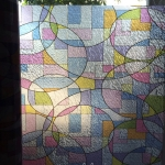 "PVC สูญญากาศติดกระจก ""Colorful Shape"" หน้ากว้าง 90 cm ราคาต่อเมตร 270 บาท"
