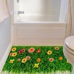 """สติ๊กเกอร์ติดผนังตกแต่งบ้าน 3D """"ต้นหญ้าและดอกไม้"""" ความสูง 59 cm กว้าง 89 cm"""
