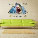 """สติ๊กเกอร์ติดผนังตกแต่งบ้าน 3D """"ปลาฉลาม Shark II"""" ความสูง 60 cm ยาว 90 cm"""