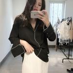 เสื้อเชิ๊ตผ้าชีฟองเกาหลี 1 สี ดำ