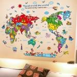 """สติ๊กเกอร์ติดผนังตกแต่งบ้าน """"แผนที่ Travel round the world"""" ความสูง 83 cm ยาว 118 cm"""