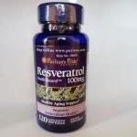 ป้องกันอนุมูลอิสระ ผิวอ่อนเยาว์ Puritan's Pride Resveratrol 100 mg / 60 Softgels