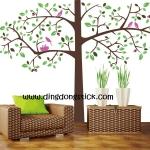 """สติ๊กเกอร์ติดผนัง ตกแต่งบ้าน Wall Sticker ขนาดใหญ่ """"Big Tree and Pinky Bird"""" ขนาดสูง 130 cm กว้าง 200 cm"""