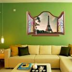 """สติ๊กเกอร์ติดผนังตกแต่งบ้าน ชุดวิวหน้าต่าง """"False Window Eiffel View"""" ความสูง 60 cm กว้าง 90 cm"""
