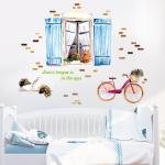 """สติ๊กเกอร์ติดผนัง สำหรับห้องเด็ก (AU) """"หน้าต่างและจักรยานสีน้ำ""""ความสูง 83 cm ความยาว 105 cm"""