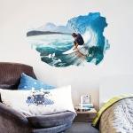 """สติ๊กเกอร์ติดผนัง 3D """"Surfing"""" ความสูง 60 cm ความกว้าง 90 cm"""