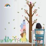 """สติ๊กเกอร์ติดผนังตกแต่งห้องเด็ก ที่วัดส่วนสูง """"Cute Lama and Height Scale"""" สเกลเริ่มต้น 10cm ถึง 180 cm"""