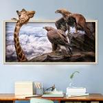 """สติ๊กเกอร์ติดผนังตกแต่งบ้าน 3D """"Animal World"""" ความสูง 41 cm ยาว 69 cm"""