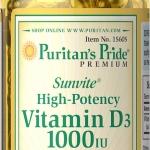 วิตามินดี 3 Puritan's Pride Vitamin D3 1000 IU /100 Softgels