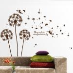 """สติ๊กเกอร์ติดผนัง หมวดดอกไม้ """"Brown Graphic and Angle"""" ความสูง 150 cm กว้าง 130 cm"""