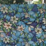 """PVC สูญญากาศติดกระจก """"Blue flower"""" หน้ากว้าง 90 cm ราคาต่อเมตร 270 บาท"""
