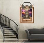 """สติ๊กเกอร์ติดผนังตกแต่งบ้าน 3D """"หน้าต่างและแมว"""" ความสูง 88 cm ความกว้าง 58 cm"""