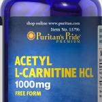 บำรุงสมอง ฟื้นฟูเซลล์ประสาท Puritan's Pride Acetyl L-Carnitine 1000 mg 60 capsule