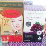 wealthyhealth bio maxi c 1 กล่อง 150 เม็ด + Healthessence Red Grape Seed 55,000mg 1 ขวด 100 เม็ด
