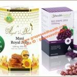 นมผึ้งAngel secret maxi 1650 mg.6% แบ่งขาย 30 เม็ด + Health Essence Red Grapeseed 55,000 mg. เมล็ดองุ่นแดง 30 เม็ด ผิวขาวสุขภาพดี