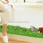 """สติ๊กเกอร์ตกแต่งผนัง รั้วต่าง ๆ """"Cute Rabbit and Grasses"""" ความสูง 18 cm ยาว 167 cm"""