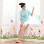 """สติ๊กเกอร์ติดผนังตกแต่งบ้าน """"รั้วหญ้าเขียวกับดอกหญ้าสีม่วง Dandelion"""" ความสูง 53 cm ยาว 127 cm"""