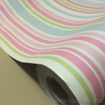 "Wallpaper Sticker แบบมีกาวในตัว หน้ากว้าง 1.22m ""Sweet Stripped"" ตัดแบ่งขายเป็นเมตร เมตรละ 250 บาท"