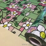"PVC สูญญากาศติดกระจก ""Nice Flower with Green"" หน้ากว้าง 90 cm ราคาต่อเมตร 270 บาท (ตัดความยาวต่อเนื่อง)"