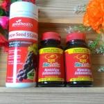 องุ่น 55,000 mg.1ปุก 120 เม็ด + bioastin สาหร่ายแดง 2 ขวด 120 เม็ด ทานได้ 4 เดือน
