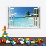 """สติ๊กเกอร์ติดผนัง ตกแต่งบ้าน """"The window of Sea"""" ความสูง 60 cm ยาว 90 cm"""