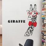 """สติ๊กเกอร์ติดผนังตกแต่งบ้าน """"Giraffe and Red Glasses"""" ความสูง 129 cm กว้าง 75 cm"""