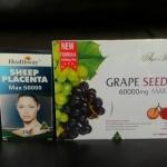 รกแกะ healthway 50,000mg 1 กล่อง 100 เม็ด + สารสกัดเมล็ดองุ่นแองเจิลซีเครท 60,000 mg. 1 ขวดใหญ่ 180 เม็ด จากออสเตรเลีย ทานบำรุงผิวขาวกระจ่างใส ผิวเนียนใสออร่า ไร้ริ้วรอยตีนกา