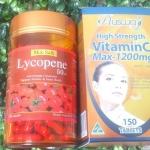 สารสกัดมะเขือเทศ 30 เม็ด + วิตามินซี Ausway Vit C Max 1200 mg. 30 เม็ด ผิวขาวใสอมชมพู มีออร่า