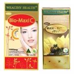 Wealthy Health Bio-Maxi C 1 ปุก 150 เม็ด + นมผึ้ง Wealthy health Maxi Royal Jelly 6% 1,650 mg. 1 ปุก 120 เม็ด ทานร่วมกันทำให้ผิวสวย ขาวอมชมพู ลื่น อ่อนเยาว์ สุขภาพดี ไม่ป่วยง่าย