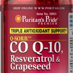 บำรุงผิวและหัวใจ Puritan's Pride Co Q-10, Resveratrol and Grapeseed / 60 Softgels