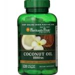 Coconut Oil 1000 mg 120 Softgels มะพร้าวสกัดเย็น Puritan's pride เก็บรักษาความชุ่มชื้นของผิวไว้ ทำให้ผิวดูมีน้ำมีนวล เปล่งปลั่ง ดูมีสุขภาพดี