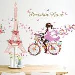 """สติ๊กเกอร์ติดผนังตกแต่งบ้าน """"Parisian Love"""" ความสูง 80 cm ยาว 145 cm"""