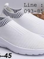 รองเท้าสวม Fully ทรงสปอร์ท ผ้ายืด ใส่สบาย ชาย/หญิง สีขาว
