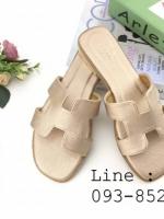 รองเท้าแตะผู้หญิง ตัว H หนัง ปั๊ม พร้อมกล่อง 36-40 สีทอง