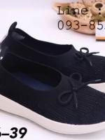 รองเท้าสวม Fully แบบยืด ประดับโบว์ สีดำ