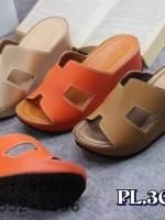 รองเท้าแตะผู้หญิง ตัว H หนัง ปั๊ม พร้อมกล่อง 36-40 เสริมซ้น