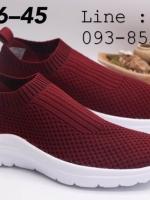รองเท้าสวม Fully ทรงสปอร์ท ผ้ายืด ใส่สบาย ชาย/หญิง สีแดงเข้ม