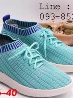 Fully รองเท้าผ้ายืด มีเชือกมัด ผ้ายืดใส่สบาย สีฟ้า