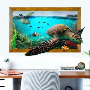 """สติ๊กเกอร์ติดผนัง 3D """"เต่าทะเล"""" ความสูง90 cm ความกว้าง 60 cm"""