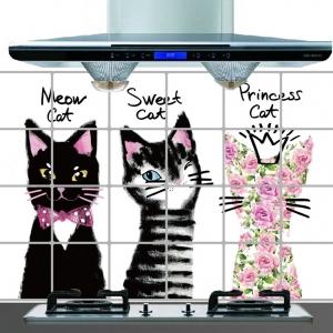 """สติ๊กเกอร์ติดครัวกันน้ำมันกระเด็น """"Sweet Cat"""" ขนาด 60 cm x 90 cm"""