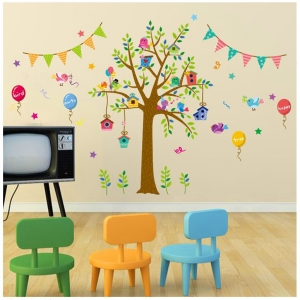 """สติ๊กเกอร์ติดผนังตกแต่งบ้าน """"ต้นไม้ Cute Tree Festival"""" ความสูง 80 cm กว้าง 140 cm"""
